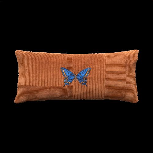Kussen vlinder blauw